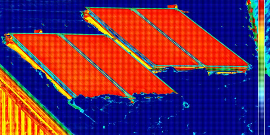 thermal imaging of solar panels on roof