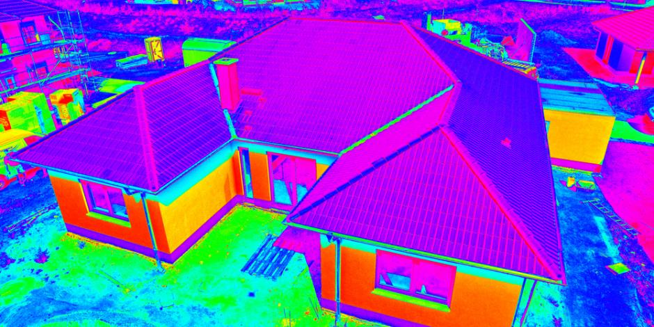 thermal imaging of house from drone top view